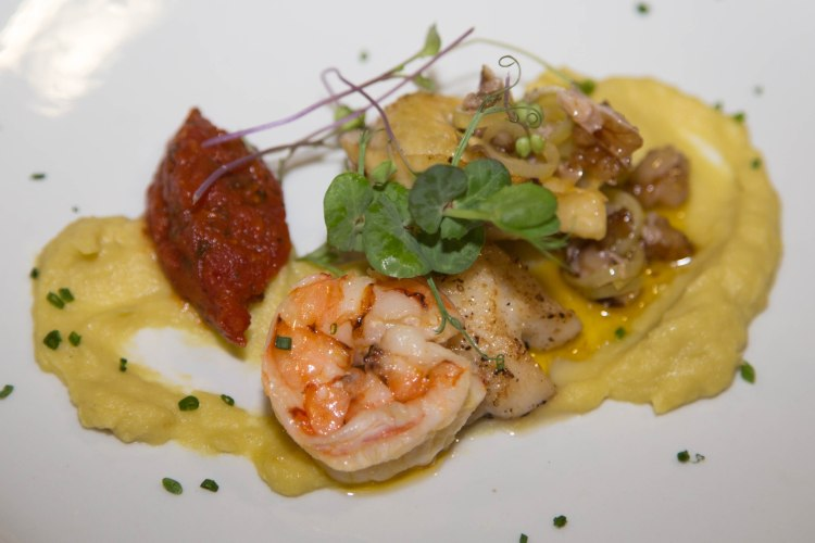 scallop smoked prawn muscle tortellini. Butter poached prawns. Leak and union puree. Tomato chutney