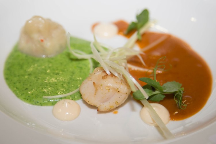 Seared scallop bisque. Prawn dumpling. Grilled prawn. Spinach veloute