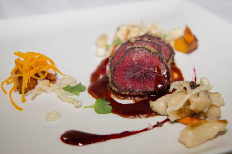 Walnut crusted venison. Tomato puree. Pickled mushroom. Parmesan gnocchi